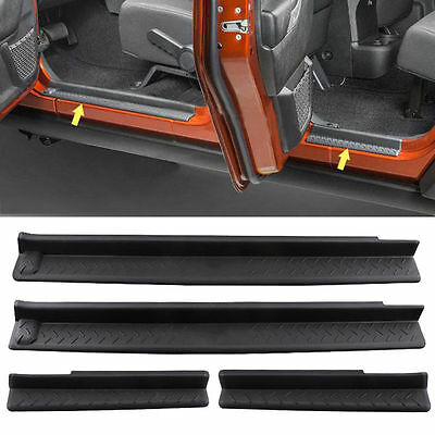 ABS Cover Step Protector Door Sill Entry Guard For Jeep Wrangler JK 2007-2016