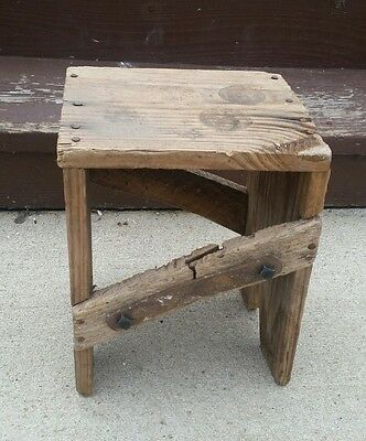 Old Antique Wooden Milking Stool Vintage Dairy Farm / Country Barn Decor