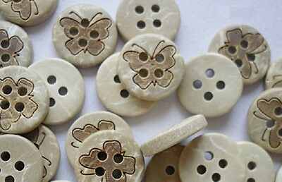 """12 Vintage MED Faux Seashell 2 Hole Buttons Pearlized w Rosey Accent 3//4/"""" Italy"""