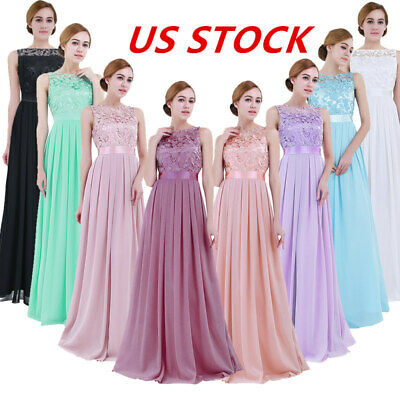 US_Womens Long Chiffon Evening Formal Party Cocktail Bridesmaid Prom Gown Dress