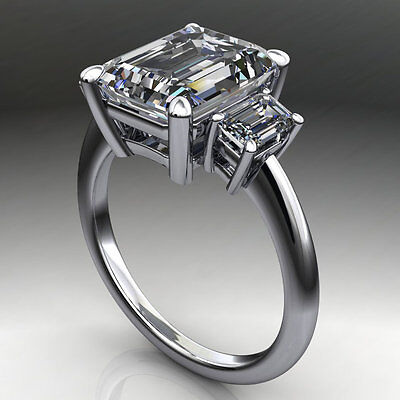 5.00Ct Emerald Cut Off White Moissanite New Engagement Ring 925 Sterling Silver