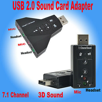 Audio USB Sound Card Adapter External 3D VIRTUAL 7.1CHANNEL For PC LAPTOP WIN7 8