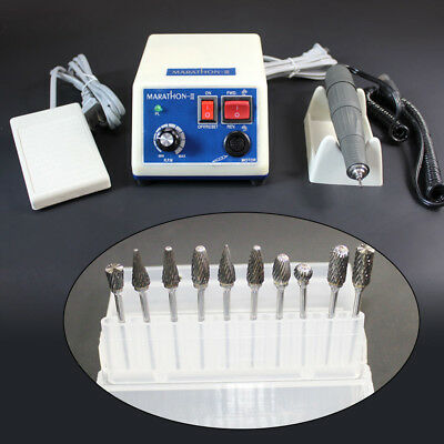 35K RPM Dental Marathon Micromotor Polishing Handpiece 10 Tungsten Burs 2.35mm