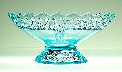 "McKee QUEEN c. 1885 Ice Blue 8"" Footed Fruit Bowl"
