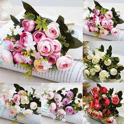 13 Heads Artificial Fake Rose Bouquet Silk Flower Leaf Wedding Party Home Decor