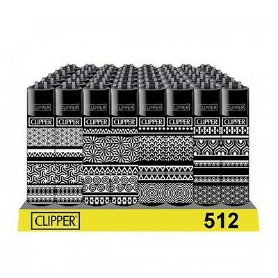 4 ACCENDINI CLIPPER GEOMETRIC BLACK TOP Da Collezione Ricaricabili Pietrina Gas