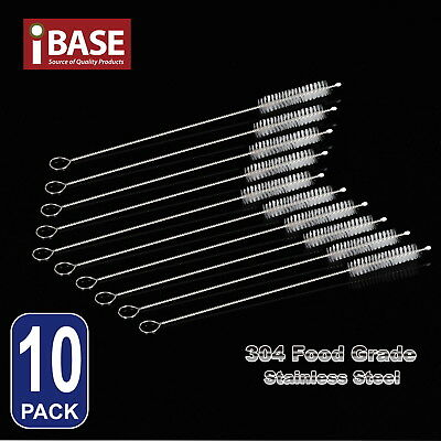 10x Stainless Steel Straws Brush Nylon Pipette Cleaners Drinking Straw Pipe
