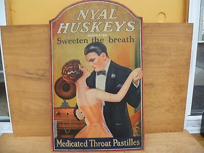 Old Large Size Card Nyle Huskeys Throat Pastilles Medical Advertising Sign (E305