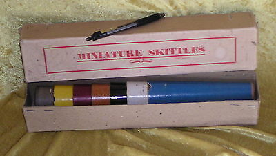 1940s MINIATURE SKITTLES Wartime TOY Minimalist Boxed Set, complete