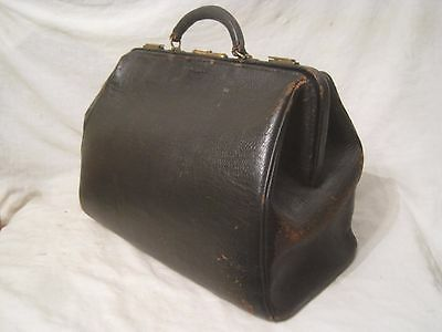 antique doctor bag medical leather household travel satchel genuine vintage old