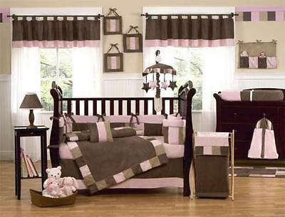 NEW 12pcs girl's Baby Bedding Set,cotbed/cot, nursery PINK BROWN quilt bumper