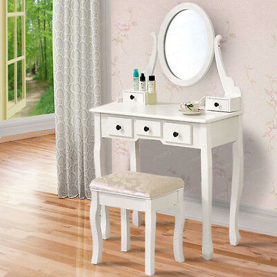 White Vintage Wood Dressing Table with 4 Drawers, Mirror Stool, Set Bedroom Desk