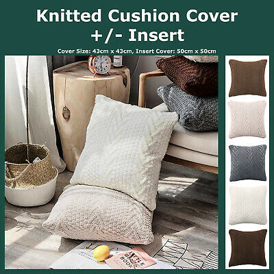 V-Twisted Ribs Knitting Throw Cushion Covers Home Decor Lounge Sofa Pillow Case