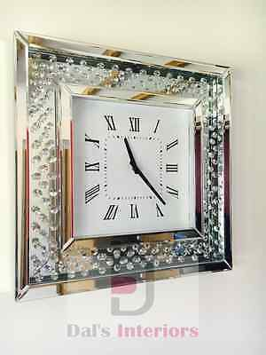 Floating Crystals Bevelled Mirror Glass Square Wall Clock 50cm x 50cm Silver