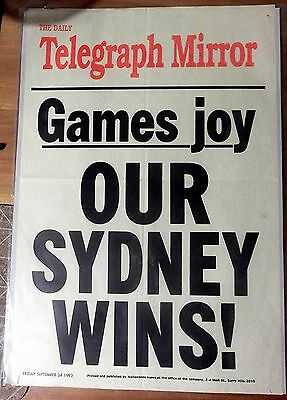 1993 The Telegraph Mirror  'our Sydney Wins' ~ News Stand Poster