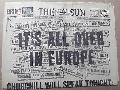 1945 The Sun ~ Sydney ~ 'it's All Over In Europe' ~  Newspaper 6 Pages