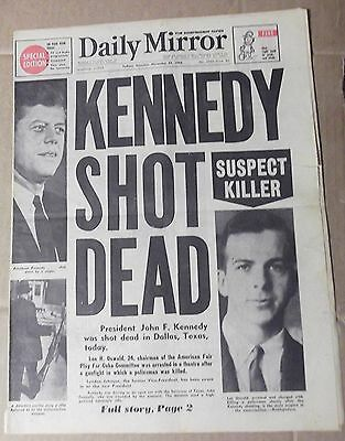1963 The Daily Mirror ~ Sydney ~ 'kennedy Shot Dead' ~ Newspaper 8 Pages