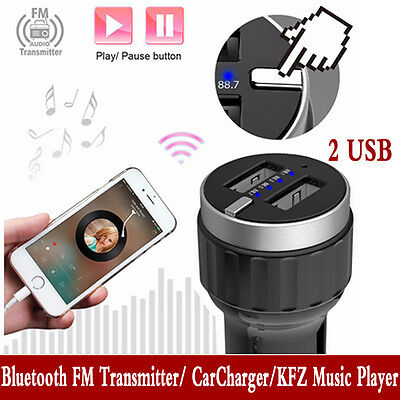 Wireless In-Car Handsfree Bluetooth FM Transmitter Radio Adapter 2 USB Charger