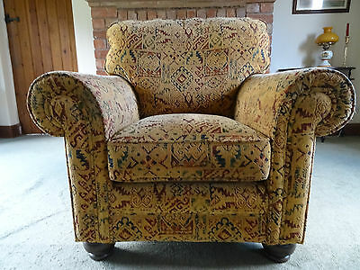 GORGEOUS 20thc ANTIQUE TRADITIONAL GOLDEN UPHOLSTERED TUB ARMCHAIR