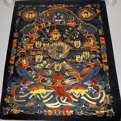 Original Handpainted Tibet Chinese Buddha Mandala Thangka Painting Meditation b1