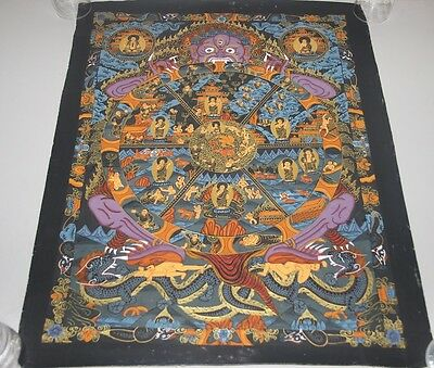 Original Signed Handpainted Mandala Thangka Gold Painting Buddha Meditation a55