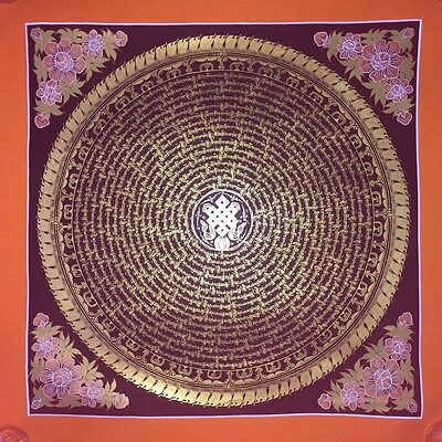Original Signed Handpainted Mandala Thangka Gold Painting Buddha Meditation a66