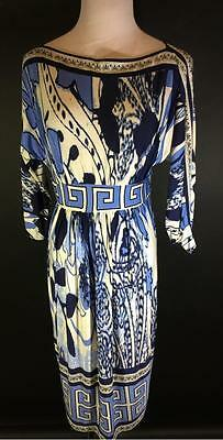 Olian Maternity Blue Gemoetric Boatneck Stretch Dress Size M New with Tags