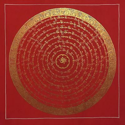 Original Signed Handpainted Mandala Thangka Gold Painting Buddha Meditation a562