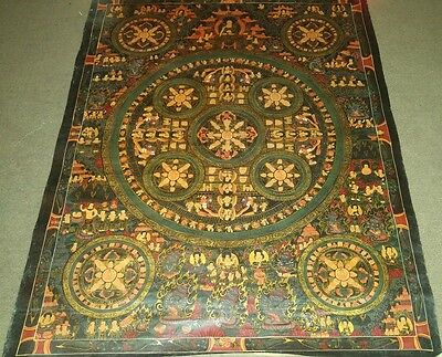Old Rare Handpainted MasterPiece Tibetan Chinese Mandala Thangka oil Painting d1