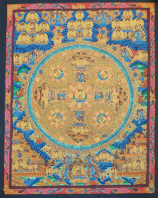 Original Tibetan Chinese Mandala Thangka Hand Painting Buddha Meditation Art 106