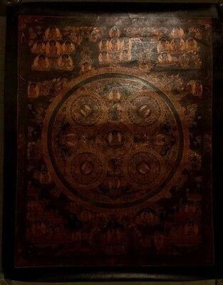 Rare Original Handpainted  Tibetan Chinese Buddha Mandala Thangka oil Painting