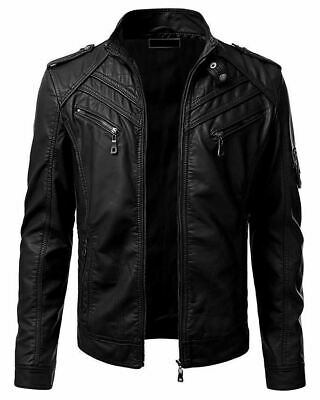 Mens Real Genuine Leather Jacket Vintage Black Slim Fit Real Biker Brand New