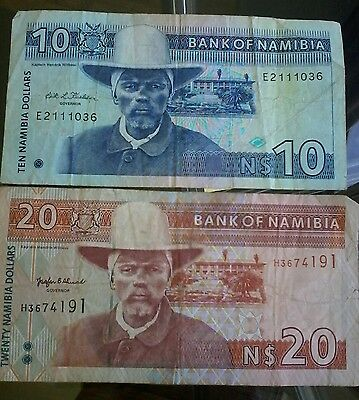 bank of namibia note 10 & 20 dollars