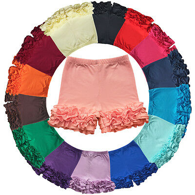 Girls Toddler's Solid Layered Double Ruffle Shorts Bottoms Pants Boutique Icing