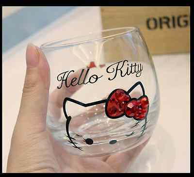 Magic Lovely Hello Kitty Unique Creative Glass Water Wine Cup Mug With Diamond