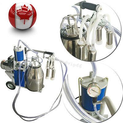 From CA Electric Milking Machine For Cow 25L Bucket Vacuum Pump Stainless Steel
