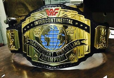 Wwf Intercontinent Wrestling  Championship Replica Belt 24K Gold Plated Zinc!!