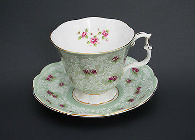 "Royal Albert Cup & Saucer ""True Love"" Pattern Green/Pink Roses - rare vintage"
