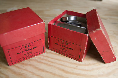 Pair of Vintage NIKOR FILM DEVELOPING TANKS IN BOXES Lot (2) for 35mm Canisters