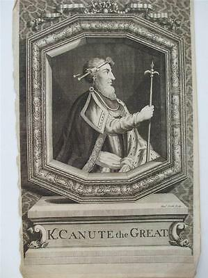 KING CANUTE THE GREAT ENGRAVING by SMITH HISTORY OF ENGLAND 1744