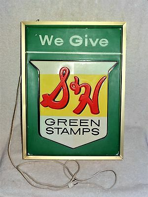 "~L@@K~ VINTAGE S & H GREEN STAMPS ""WE GIVE"" Double Sided Light Sign 18"" X 13.5"""