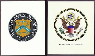 Lot of 2 - Department of Treasury & Great Seal of the United States Lithograph