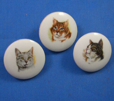 20 mm  China Sewing Buttons -- Set of Three Cats  -- Make Offer