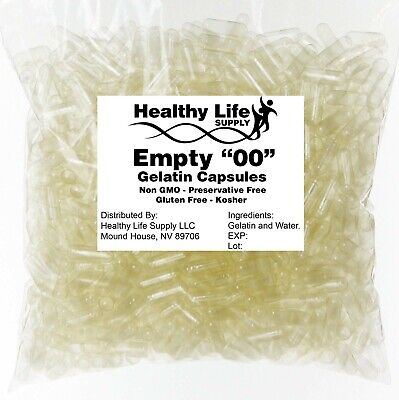 Empty Capsules Sizes 000 00 0 1 2 3 4 Free Shipping USA Pharmacist Approved
