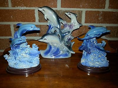 Blue Ocean Dolphin Figurines Set of 3
