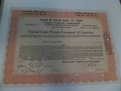 United Cigar Stores Co of America stock certificate 1928