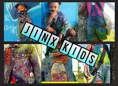 "Jinx Kids Custom Denims- ""Hip Hippy"" denim overalls"