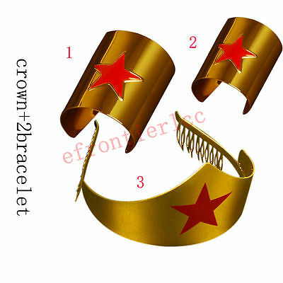 US!Gold COS Wonder Woman Tiara Movie Crown Bracelet Comic Costume Accessory Set
