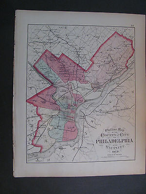 Antique 1872 Outline Map Of The County and CIty Of Philadelphia