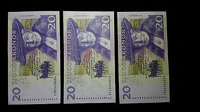 Lot of 3 - SWEDEN 20 KRONOR BANK NOTES (3 bills)